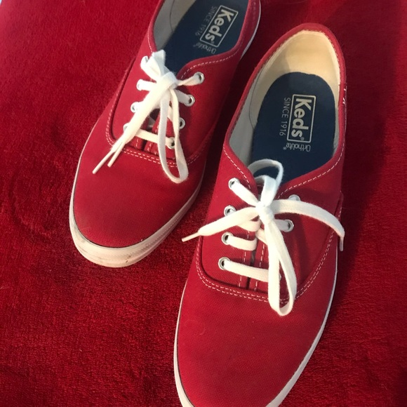 Red canvas KEDS sneakers